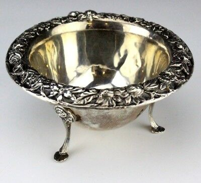 Kirk & Son Sterling Silver 925 Floral Repose Relief Tri Foot Candy Nut Dish GSN