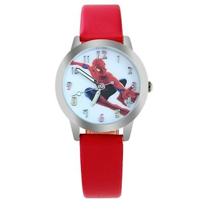 Spider Man Wrist Watch Boy's Girl's PU Leather Band Children Kids Gift Stocking