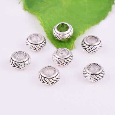 30/300pcs Tibetan silver Round Big Hole Spacer Beads Jewelry Findings 7.5mm