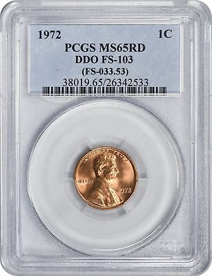 1972 Lincoln DDO FS-103 Cent MS65RD PCGS Mint State 65 Red