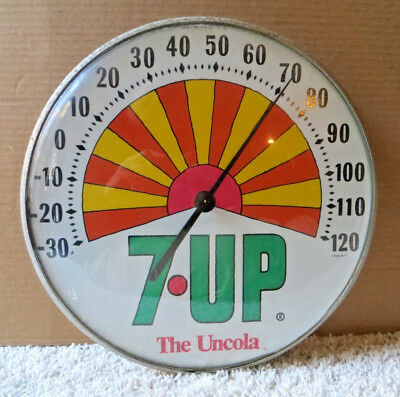 VINTAGE 7up THE UNCOLA ROUND BUBBLE GLASS THERMOMETER