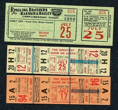 1956 (3) Unused Tickets  - Ringling Brothers Barnum & Bailey Circus - 1 Railroad