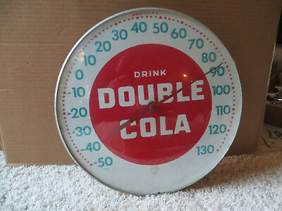 Vintage Double Cola Round Bubble Glass Thermometer