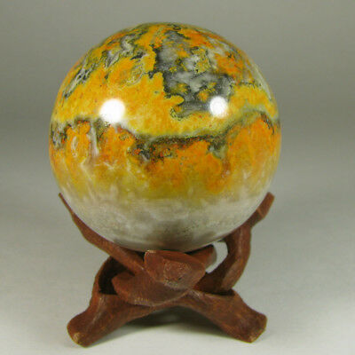 50mm BUMBLE BEE JASPER Orpiment Sphere Ball w/ Stand - Indonesia