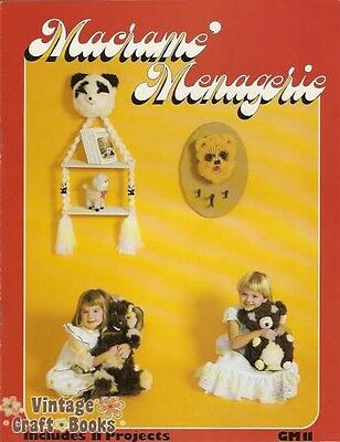 Macrame Menagerie Vintage Pattern Instruction Book 11 Themed Projects NEW 1976