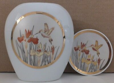 Collectable White Porcelain Chokin Handcrafted Vase & Plate 24ct Gold Made Japan