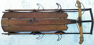 """Large Rare Antique 5C Flexible Flyer Wood Snow Sled 63"""" Foot Rests 1915 Shield"""