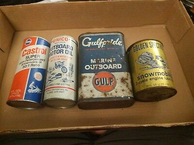 Vintage outboard Snowmobile oil can lot Castrol unico Gulf golden spectro Cycle