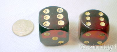 Vintage Pair of Cherry Red Color Bakelite Large Dice