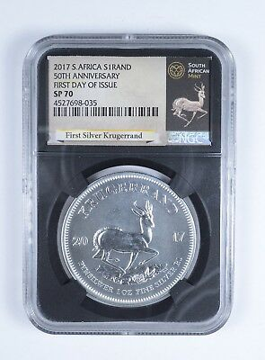 2017 South African Krugerrand 1 Oz Silver 1 Rand NGC SP-70 FDI *757