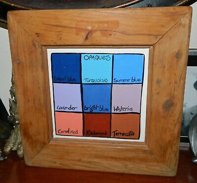 VINTAGE Opaques Colours Painted Ceramic Tile in Wood Frame
