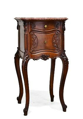 Antique French Louis XV Style Walnut Marble Top Night Stand Nightstand
