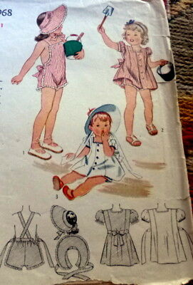 LOVELY VTG 1940s GIRLS SUNSUIT BONNET & DRESS Sewing Pattern 1