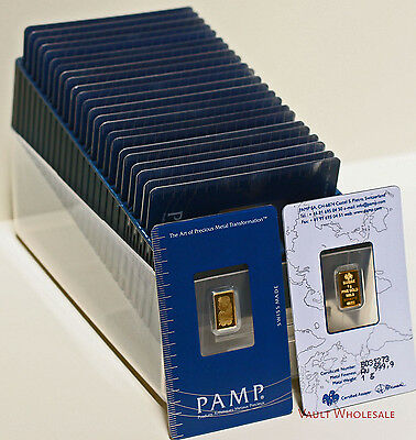 Twenty five 25 one gram PAMP Suisse bars in assay card 999.9 pure gold FREE ship
