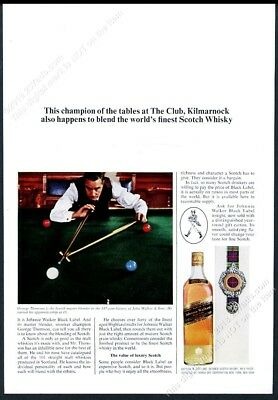 1966 snooker table balls game photo Johnnie Walker Scotch Whisky print ad