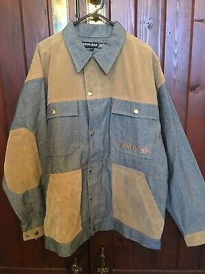 Vintage Zip And Press Stud Button Up Jacket Eminem Grey & Camel Size Xxl New