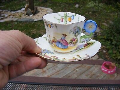 Gorgeous Aynsley Flower Handle Garden Tea Cup And Saucer AYNSLEY ENGLAND LADY