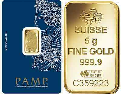 One Hundred (100) 5 Gram PAMP Suisse .9999 pure Gold Bars - FREE shipping