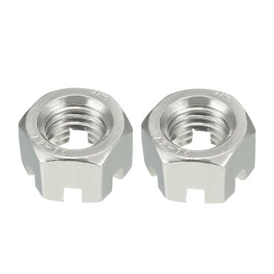 M14 x 2mm Pitch 304 Stainless Steel Slotted Hex Nuts 2Pcs