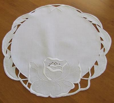 Superb Hand Embroidered Vintage White on White Table Centre - Cutwork Design