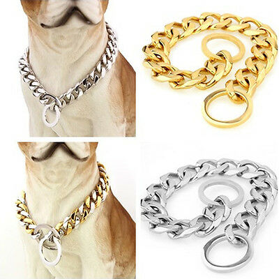 """Silver/Gold Flat Curb Link Stainless Steel Dog Chain Collar 12""""-28"""""""