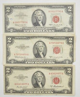 Lot (3) Red Seal $2.00 US 1953 or 1963 Notes - Currency Collection *272