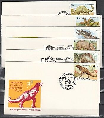 Romania, 1993 issue. 22-23/OCT/93. Dinosaur cancels on 6 cachet Envelopes