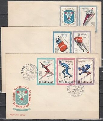 Romania, Scott cat. 1951-1957. Grenoble Olympics issue. 3 First day Covers