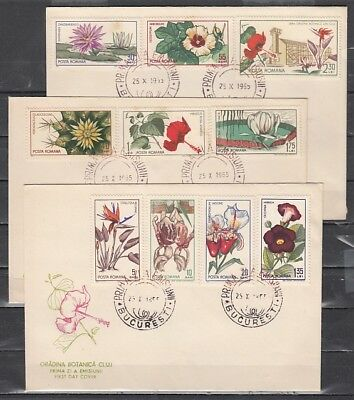 Romania, Scott cat. 1779-1788. Gardens issue w/Orchid. 3 First day Covers