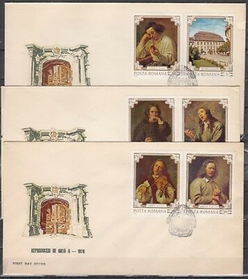 Romania, Scott cat. 2218-2223. The Senses Paintings issue. 3 First day covers