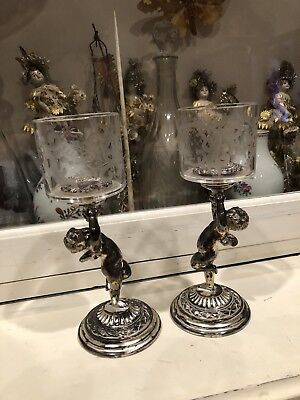 Pair Antique Winged Cherub Silverplate & Cut Glass Pairpoint Candle Holders