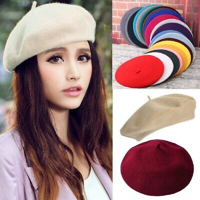 Women's Girl 100% Wool Warm Winter Baggy Classic French Fluffy Beanie Beret Hat