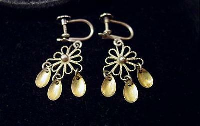 Vintage Filigree Norway 830 Silver Solje Earrings W 3 Gold Washed Spoon Dangles