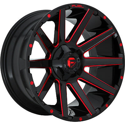 22x10 Black Red Fuel Contra (D643) Wheels 8x6.5 -18 Lifted Fits Ford E-150