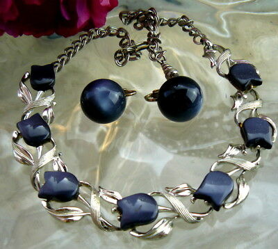 Black Charcoal Gray Moonglow Thermoset Signed Star Necklace Coro Earrings Lot!!