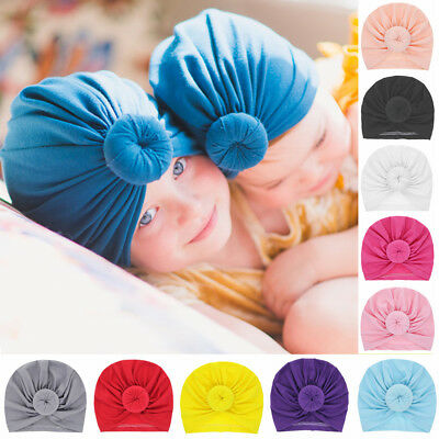 44da3a79 Headwrap Solid Color Winter Cap Ball Knot Newborn Beanie Hat Kids Baby  Turban