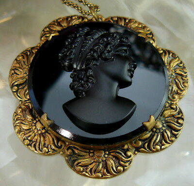 Vintage Victorian Huge Black Glass Brass Cameo Mourning Pendant Chain Necklace!