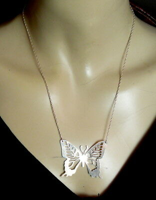 """Beautiful Large Vintage Sterling Silver Butterfly Pendant Chain Necklace 19 3/4"""""""