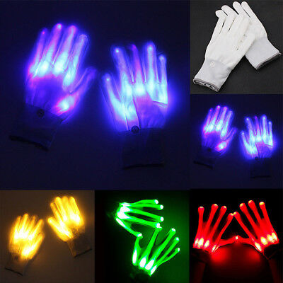 Electro LED Finger Flashing Glove Light Up Halloween Xma Dance Rave Party Fun CY