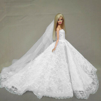 Doll Clothes Wedding Dress Party Gown With Veil Accessories For  Dolls