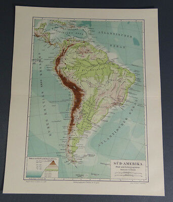 1890s Antique South America River&Mountain Systems Map German Meyers Color Print