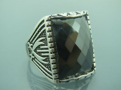 Turkish Handmade Jewelry 925 Sterling Silver Onyx Stone Men's Ring Sz 10