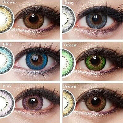 1 Pair Colored Cosmetic Contact Lenses 0 Degree Women Eye Eyewear Con Lindo
