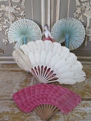 Frankreich 4x antik Papier Fächer antique fan grands Magasins french shabby
