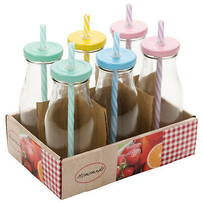 6x Glass Bottle With Straw Lid Set Birthday Cocktail Drinking BBQ Smoothie Milk