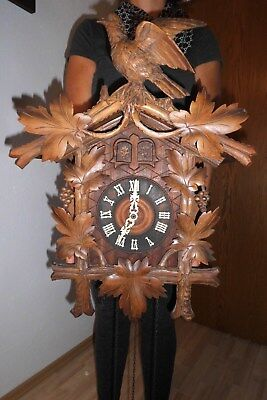 xxl antique,museum cuckoo clock,4/4 about 1900,two doors,two cuckoos,orig germay