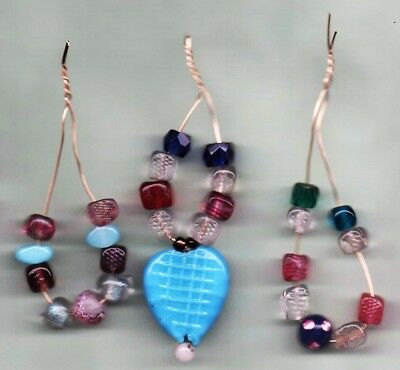 Group Ofthree Lace Bobbin Spangles Using Antique Glass Beads