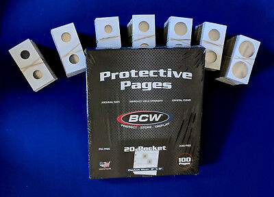 500  Assorted Size 2X2 Cardboard Coin Holders Flips with 25 BCW 20 Pocket Pages