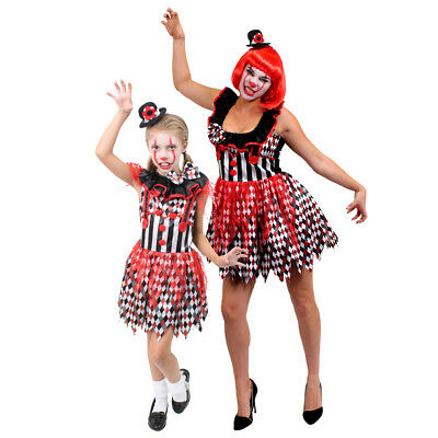 Adults Kids Evil Killer Clown Female Halloween Circus Horror Fancy Dress