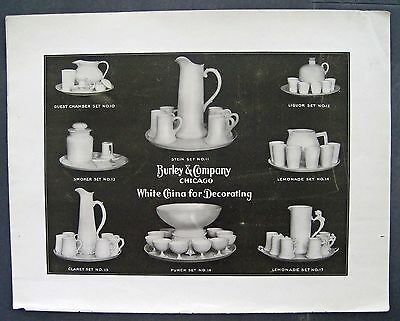 Antique 1906 PRINT AD Burley & Company White China Chicago Keramic Magazine